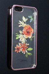 Capas para Celular Iphone 5-5S Silicone Transparente Estampa Flores Alto Relevo Borda Pintura Rosa-b