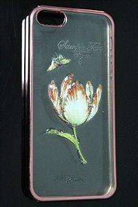 Capas para Celular Iphone 5-5S Silicone Transparente Estampa Flores Alto Relevo Borda Pintura Rosa-c