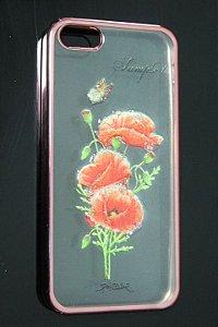 Capas para Celular Iphone 5-5S Silicone Transparente Estampa Flores Alto Relevo Borda Pintura Rosa-e