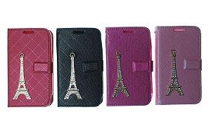 Capas Carteira para Celular Samsung Galaxy Ace 4 G313 Torre de Paris Cores Variadas