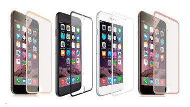 Película de Vidro Temperado iPhone 6 Plus Borda Metálica Cores Sortidas