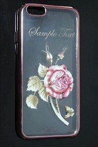 Capas para Celular IPhone 6 Silicone Transparente Estampa Flores Alto Relevo Borda Pintura Rosa-a