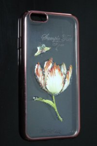 Capas para Celular IPhone 6 Silicone Transparente Estampa Flores Alto Relevo Borda Pintura Rosa-b