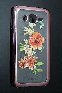 Capas para Celular Samsung Galaxy J5 SM-J500M Silicone Transparente Estampa Flores Alto Relevo Borda Pintura Rosa-c