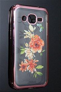 Capas para Celular Samsung Galaxy J2 SM-J200M Silicone Transparente Estampa Flores Alto Relevo Borda Pintura Rosa-a