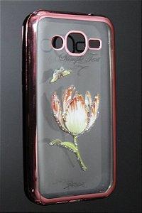 Capas para Celular Samsung Galaxy J2 SM-J200M Silicone Transparente Estampa Flores Alto Relevo Borda Pintura Rosa-e