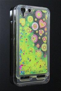 Capas para Celular Lenovo Vibe K5 Silicone Transparente Estampa Coração Glitter Liquido Amarelo