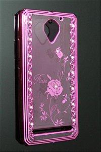 Capas para Celular Lenovo Vibe C2 Silicone Transparente Estampa Rosas Alto Relevo com Pedrinhas Borda Pintura Pink