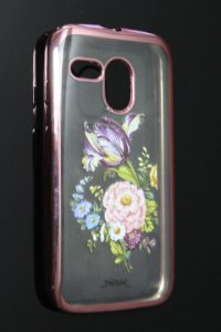 Capas para Celular Motorola Moto G 1ª Geração XT-1032/1033 Silicone Transparente Estampa Flores Alto Relevo Borda Pintura Rosa-a