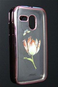 Capas para Celular Motorola Moto G 1ª Geração XT-1032/1033 Silicone Transparente Estampa Flores Alto Relevo Borda Pintura Rosa-b
