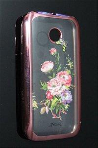 Capas para Celular Motorola Moto E 1ª Geração Silicone Transparente Estampa Flores Alto Relevo Borda Pintura Rosa-b