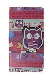 Capas Carteira para Celular Lenovo Vibe A7010 em Couro Sintético Estampa Corujinha-D