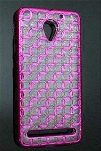 Capas para Celular Lenovo Vibe C2 Silicone Transparente com Glitter Alto Relevo Borda Pintura Pink