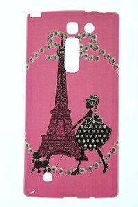 Capas para Celular LG Prime Plus H502 Tpu Silicone com Glitter Estampa Torre de Paris Cor Pink
