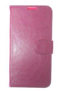 Capas Carteira para Celular LG K8 em Couro Sintético Cor Pink
