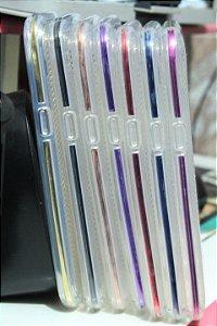 Capas para Celular Samsung Galaxy J5 SM-J500M Silicone Transparente com Bordas Metalizadas Cores Variadas