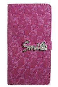 Capas Carteira para Celular Samsung Galaxy J7 2016 em Couro Sintético Smile Cor Pink