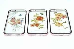 Capas para Celular IPhone 5-5s Silicone Estampa Flores Alto Relevo Sortidas Borda Pintura Metálica