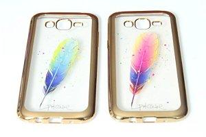 Capas para Celular Samsung Galaxy J5 SM-J500 Silicone Estampa Pena Alto Relevo Sortidas Borda Pintura Metálica