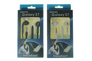 Fone de Ouvido para Celular Samsung Galaxy S7 Entrada P2 cor Branca ou Preta na Caixa