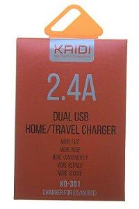 Carregador Fonte Casa Kaidi 2.4 Amperes com 2 Usb Modelo KD-301