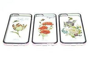 Capas para Celular IPhone 6-6s Silicone Estampa Flores Alto Relevo Sortidas Borda Pintura Metálica