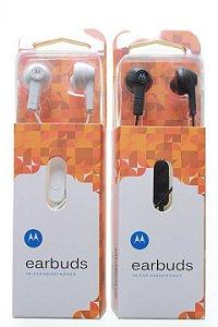 Fone de Ouvido para Celular Motorola Entrada P2 EarBuds cor Branca ou Preta na Embalagem