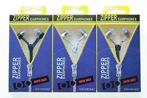 Fone de Ouvido Zipper Earphones Entrada P2 Com Microfone Cores Sortidas