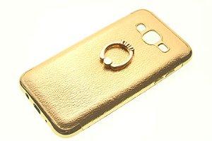 Capinha de Celular Samsung Galaxy j5 SM-J500 Dourada Anel Pop Socket