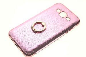 Capinha de Celular Samsung Galaxy j7 SM-J700 Rosê Anel Pop Socket