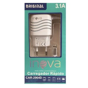 Carregador INOVA 3.1A para iPhone 5-5s-6-6s-7