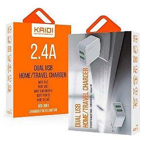 Carregador de Celular Fonte Dois USB 2.4A KAIDI KD-301