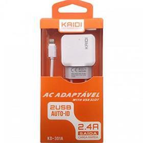 Carregador Fonte Dois USB 2.4A Com Cabo iPhone 5-5s-6-6s-7 KAIDI KD-301A