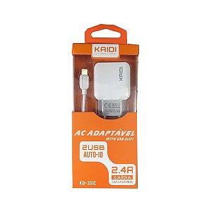 Carregador Fonte Dois USB 2.4A Com Cabo Type C KAIDI KD-301C