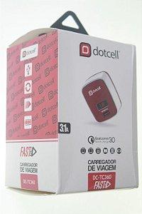 Carregador Viagem Dotcell DC-TC360 3.1A - (FAST) - 1 USB + LED - Vermelho