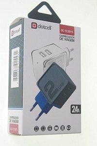 Carregador Viagem Dotcell DC-TC5015 2.4A - 2 USB - Azul