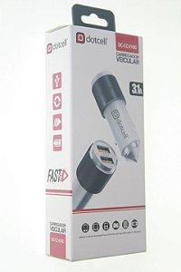 Carregador Veicular Dotcell DC-CC4100 - 3.1A - (FAST) - 2 USB  - Branco/Preto