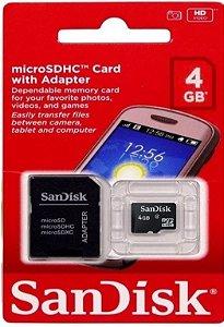 Cartão de Memória Sandisk Micro SD 4Gb