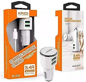 Carregador Veícular KAIDI para Celular V8 Micro USB