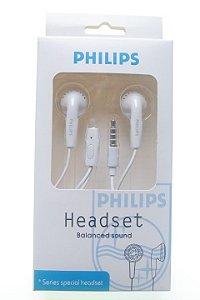 Fone de Ouvido Marca Philips Entrada P2 cor branca ou preta na caixa
