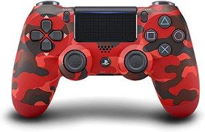 Periférico Dualshock 4 Red Camouflage PS4 Novo