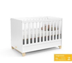 Berço de Bebê Zupy Branco Soft Natural Matic