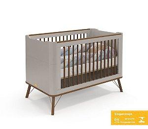 Berço de Bebê Albi Cinza Eco Wood Matic