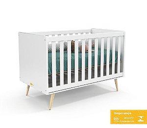 Berço de Bebê Retrô Branco Soft Natural Matic