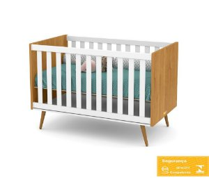 Berço de Bebê Retrô Branco Soft Freijó Matic