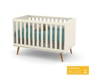 Berço de Bebê Retrô Off White Eco Wood Matic