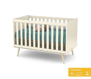 Berço de Bebê Retrô Off White Natural Matic