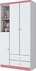 Guarda-roupa de Bebê com 3 Portas e 2 Gavetas Bala de Menta Branco e Rosa Henn