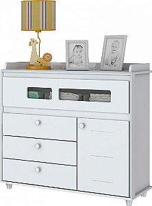 Cômoda de Bebê com 4 Gavetas e 1 Porta Aquarela Branco Henn
