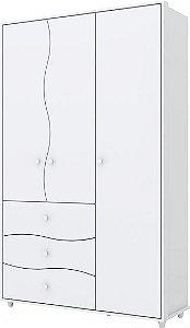 Guarda-roupa de Bebê com 3 Portas e 3 Gavetas Adoleta Branco Henn